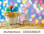 easter card  colored eggs in... | Shutterstock . vector #1032630625
