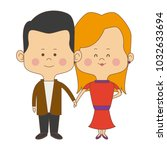 cute couple bride and groom... | Shutterstock .eps vector #1032633694