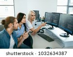 it office. people working at... | Shutterstock . vector #1032634387