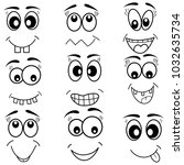 cartoon mouth eyes face icons... | Shutterstock .eps vector #1032635734