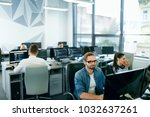 people working in modern office.... | Shutterstock . vector #1032637261