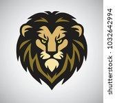 lion head mascot retro logo... | Shutterstock .eps vector #1032642994