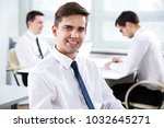 portrait of young businessman... | Shutterstock . vector #1032645271