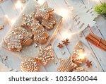 glazed christmas biscuits ... | Shutterstock . vector #1032650044