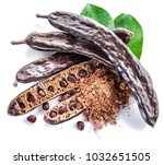 carob pods and carob powder on... | Shutterstock . vector #1032651505