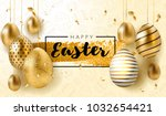 Stock vector happy easter lettering background with realistic golden shine decorated eggs confetti golden 1032654421