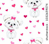 Stock vector pet sitting dog white maltese with pink bows and hearts background seamless pattern vector 1032659074
