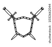 metallic warrior shield with...   Shutterstock .eps vector #1032662044