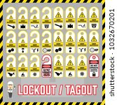 set of safety caution labels... | Shutterstock .eps vector #1032670201