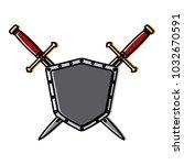 metallic warrior shield with... | Shutterstock .eps vector #1032670591
