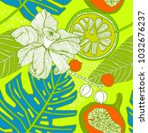 bright exotic pattern with... | Shutterstock .eps vector #1032676237