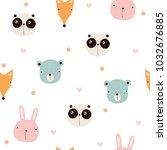 seamless pattern with cute... | Shutterstock .eps vector #1032676885