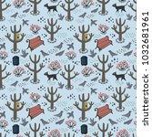 retro style park seamless... | Shutterstock .eps vector #1032681961