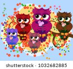 a family of colorful  bright ... | Shutterstock .eps vector #1032682885