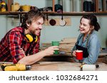man and girl carpenters having... | Shutterstock . vector #1032684271