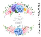 wedding banner card. violet ... | Shutterstock .eps vector #1032685081