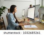 young asian businesswoman... | Shutterstock . vector #1032685261