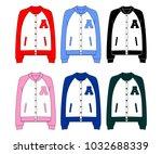 unisex college bomber jacket...   Shutterstock .eps vector #1032688339
