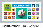 e learning flat icon set.... | Shutterstock .eps vector #1032696364