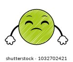 doodle disappoint emoji face... | Shutterstock .eps vector #1032702421