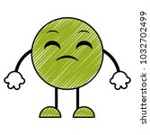 doodle disappointed emoji... | Shutterstock .eps vector #1032702499