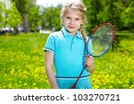portrait of little girl with... | Shutterstock . vector #103270721