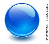 glass sphere  blue vector ball.  | Shutterstock .eps vector #1032713317