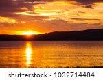 Stunning Golden Sunset At Lake...