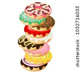 stack of donuts. donut with... | Shutterstock .eps vector #1032716035