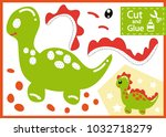 cut and glue the paper dinosaur.... | Shutterstock .eps vector #1032718279