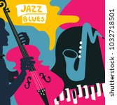 jazz music festival poster with ... | Shutterstock .eps vector #1032718501