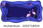 flamingo floral jungle... | Shutterstock .eps vector #1032718924
