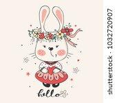 cute romantic bunny.cartoon... | Shutterstock .eps vector #1032720907