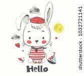 little bunny sailor.cartoon... | Shutterstock .eps vector #1032721141