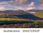 lupin blooming with mountains... | Shutterstock . vector #1032723529