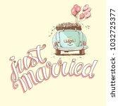 just married hand lettering... | Shutterstock .eps vector #1032725377