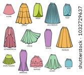 woman skirt type models... | Shutterstock .eps vector #1032729637