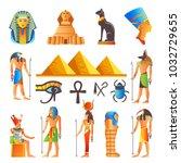 egypt culture symbols vector... | Shutterstock .eps vector #1032729655