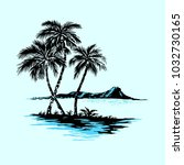 sea island with palm trees....   Shutterstock .eps vector #1032730165