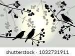 birds on the branch during... | Shutterstock . vector #1032731911