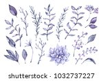 hand drawn watercolor... | Shutterstock . vector #1032737227