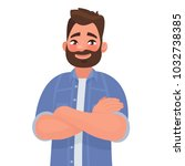 bearded smiling man with arms... | Shutterstock .eps vector #1032738385