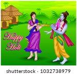 lord krishna playing holi... | Shutterstock .eps vector #1032738979