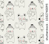 forest animal seamless pattern... | Shutterstock .eps vector #1032740095