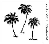 palm trees  black silhouettes... | Shutterstock .eps vector #1032741145