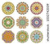flower raster mandalas set....   Shutterstock . vector #1032742039