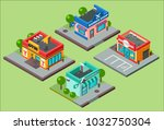 vector isometric city buildings ... | Shutterstock .eps vector #1032750304