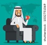 arab businessman sitting on a... | Shutterstock .eps vector #1032751069