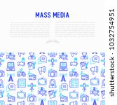 mass media concept with thin... | Shutterstock .eps vector #1032754951