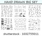 big set of hand drawn arrow and ... | Shutterstock .eps vector #1032755011